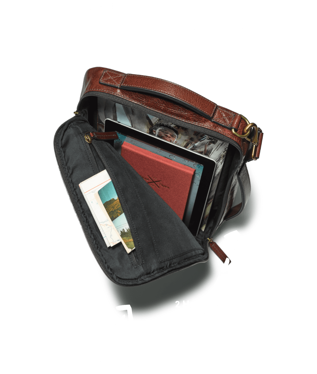 An open Buckner convertible backpack with arrows pointing to main features.