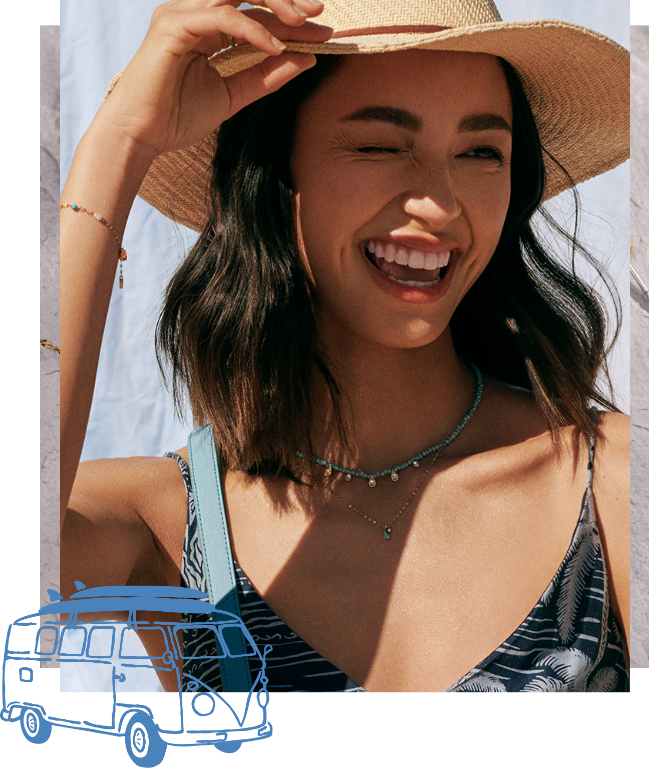 A woman in a hat winking wearing two Tranquil Summer necklaces.