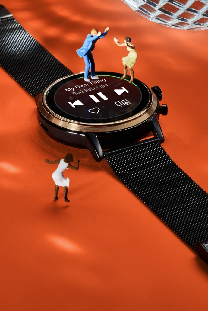 A Gen 5 smartwatch on a red background.