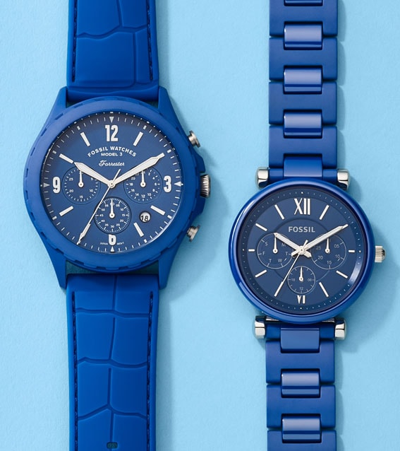 Collection of blue Ceramic watches.