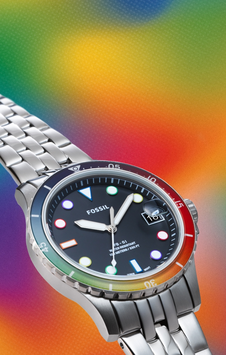 Limited-Edition Pride Watch with rainbow background.