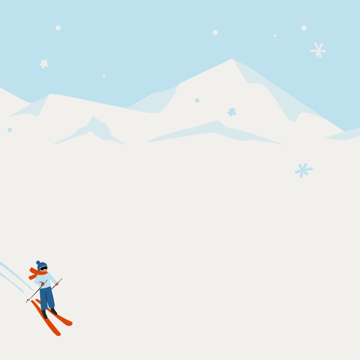 blue background with trees, snow, santa, and a reindeer