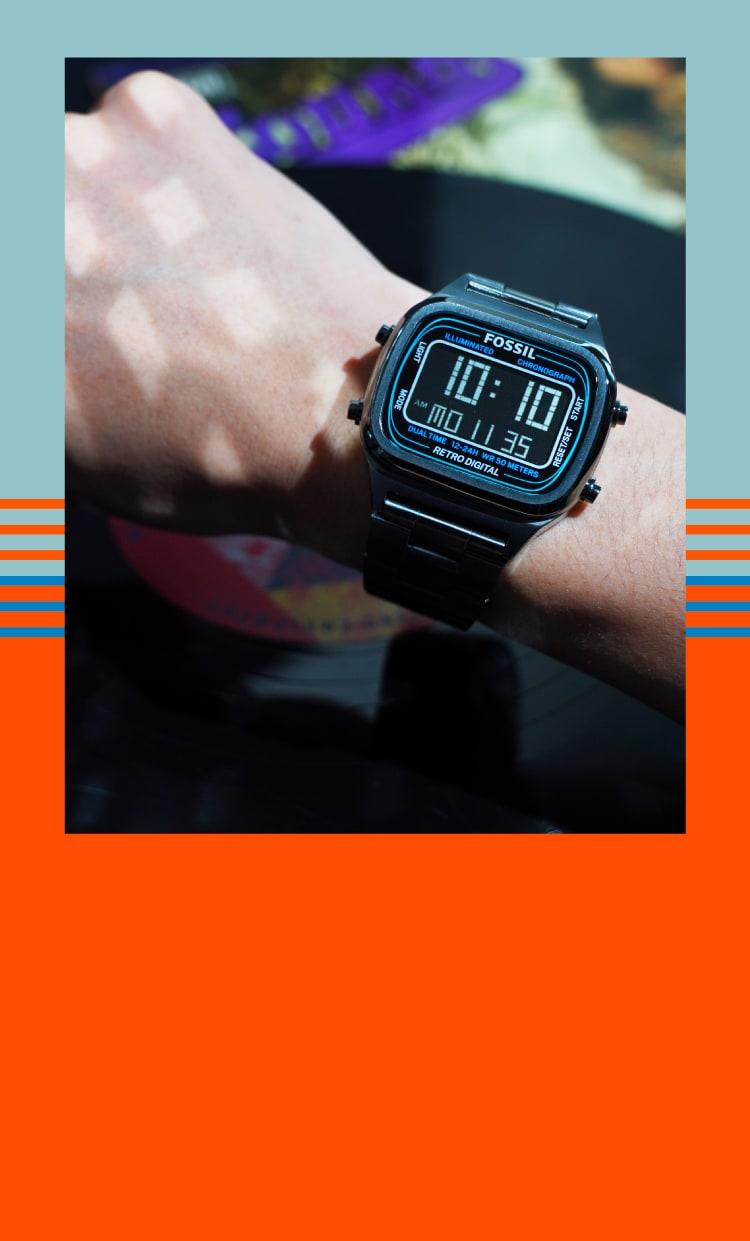 retro digital watch on wrist