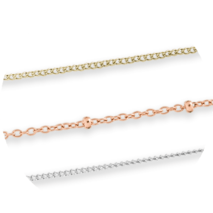 Three gold-, rose- and silver-tone steel chains.