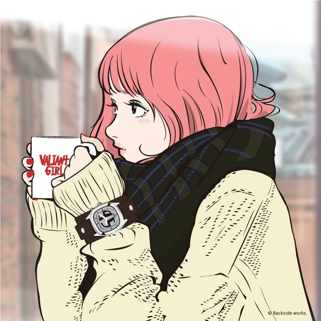 backside works' valiant girl drinking from a mug
