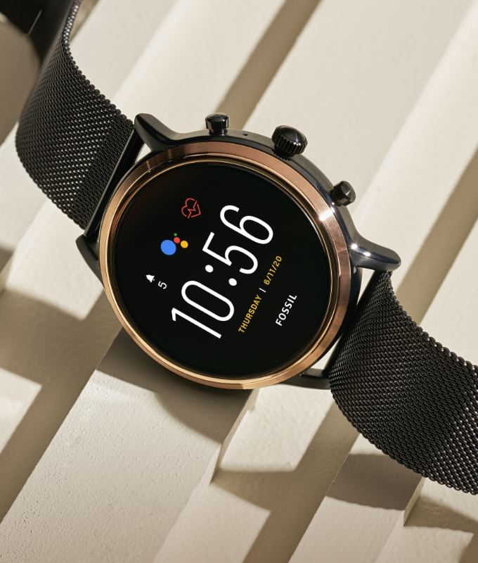 Stainless steel touchscreen smartwatch.