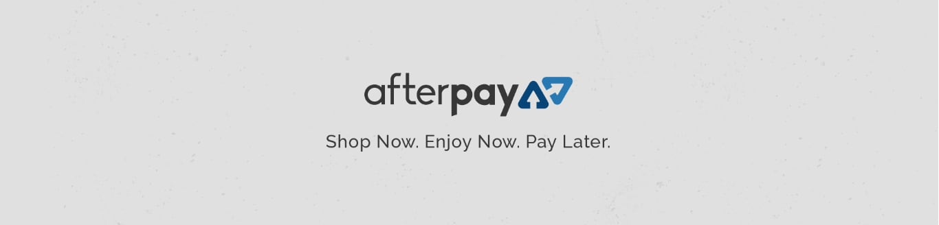Afterpay logo on grey background.