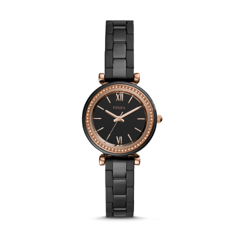 Black ceramic Fossil watch.