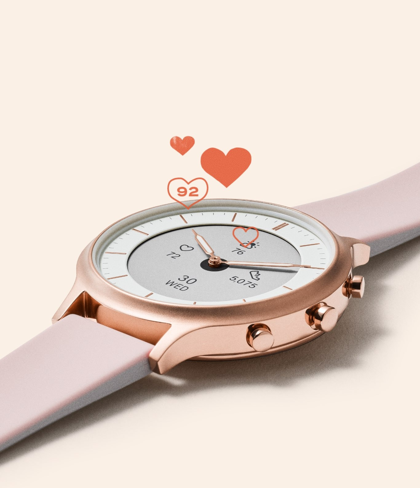 Hybrid Smartwatch HR with heart-rate tracking iconography.