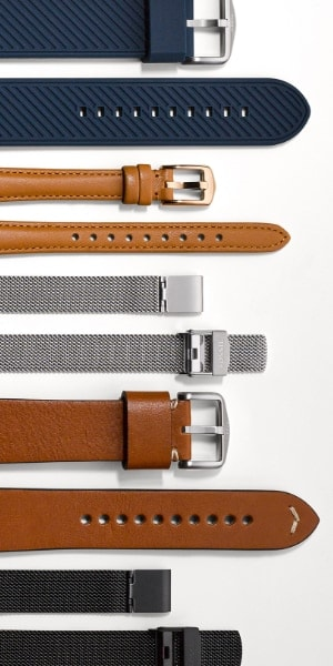 Interchangeable watch straps.