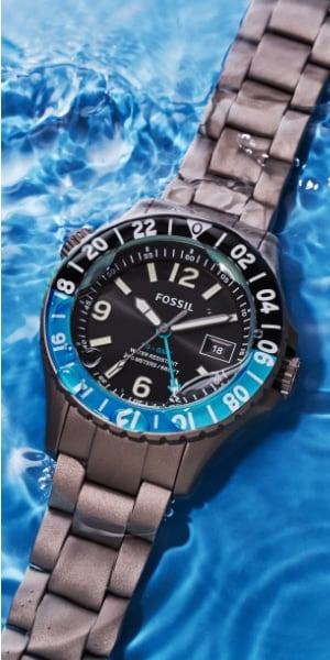 The Limited-Edition Fossil Blue GMT watch.