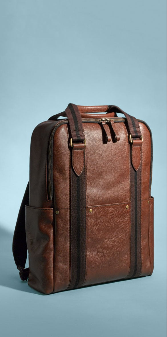 Men's brown leather Houston backpack.
