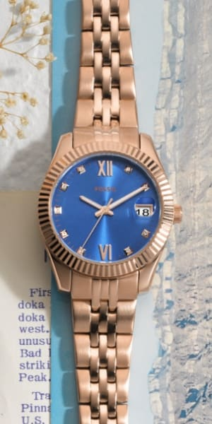 Two-tone Scarlette Micro watch on postcard.