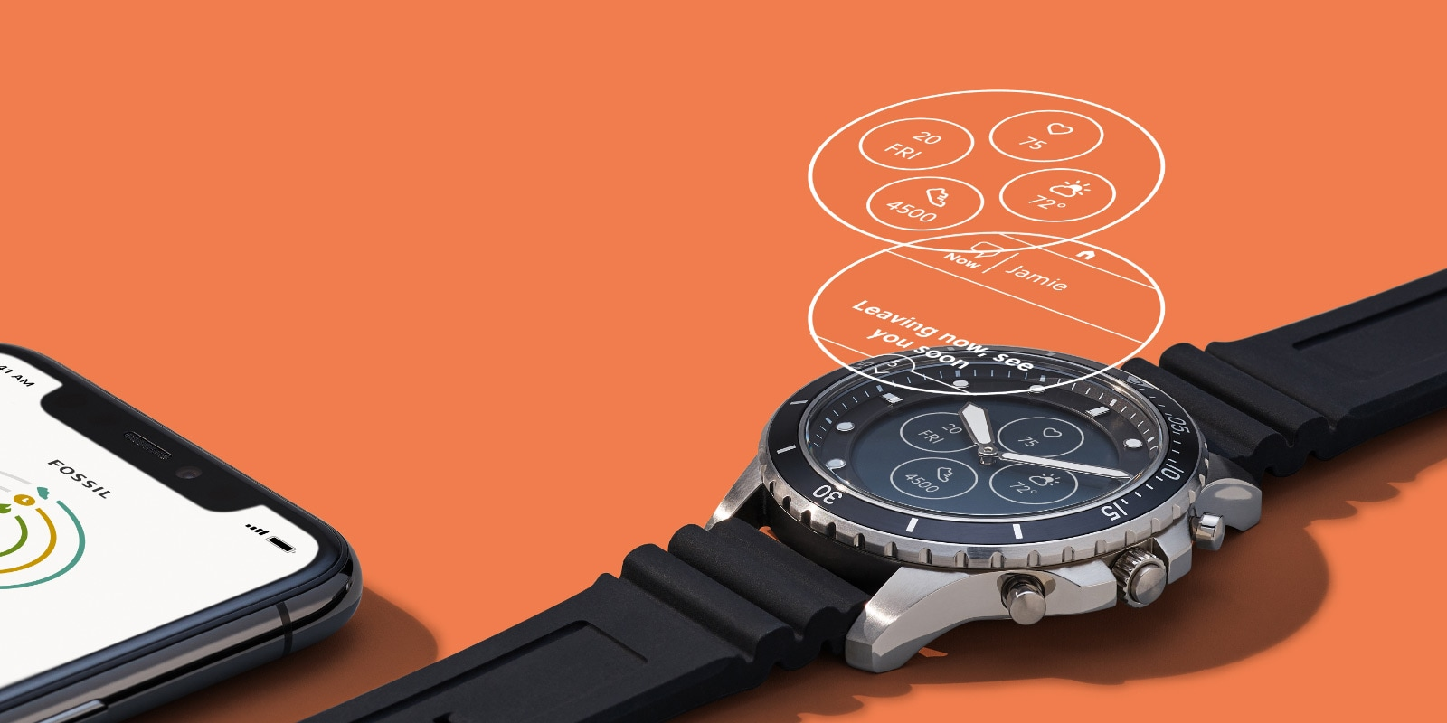 Hybrid Smartwatch HR in leather with feature iconography.