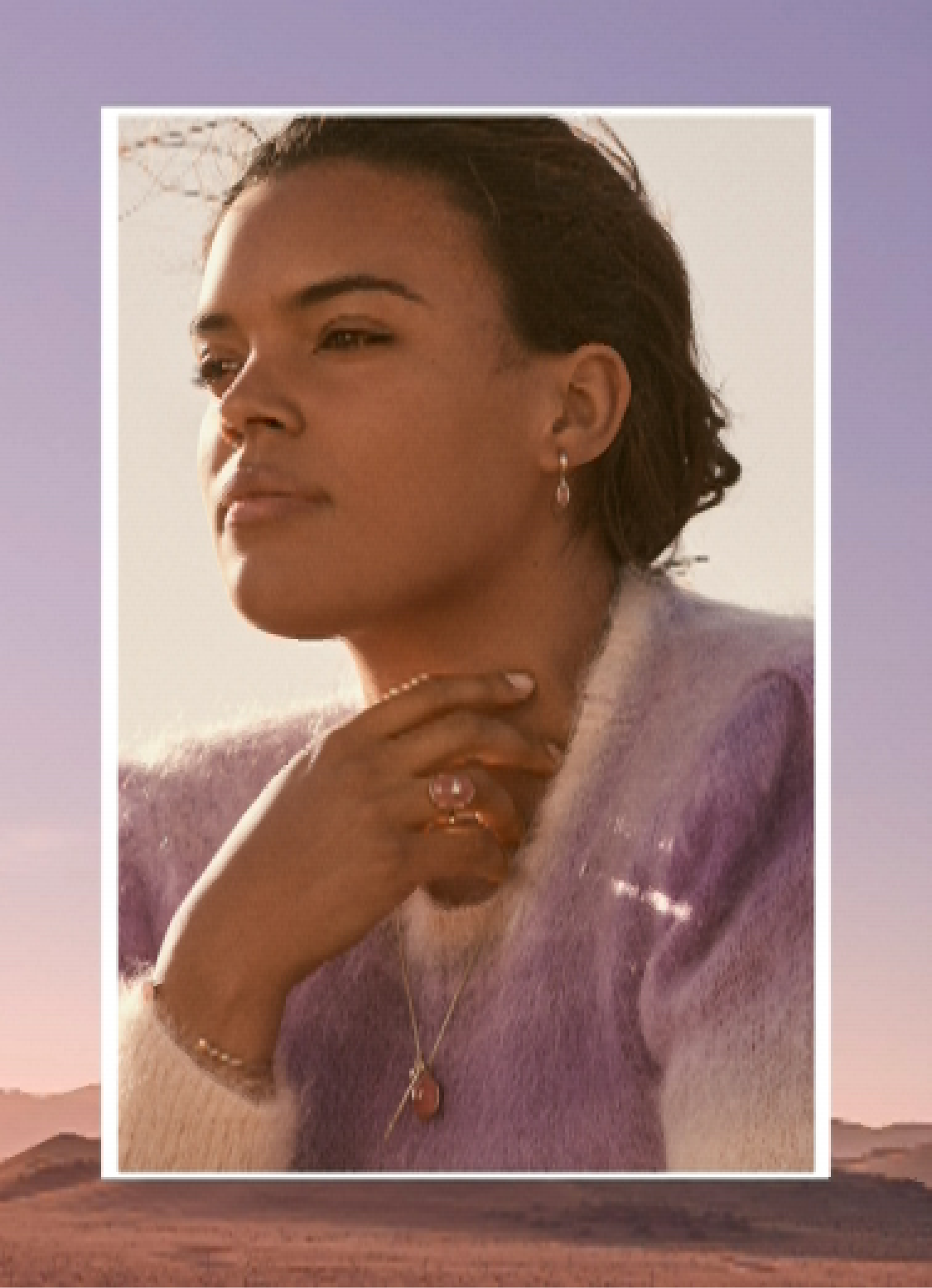 It's a Mood. Purple beaded jewelry and a video of a woman wearing fall jewelry.
