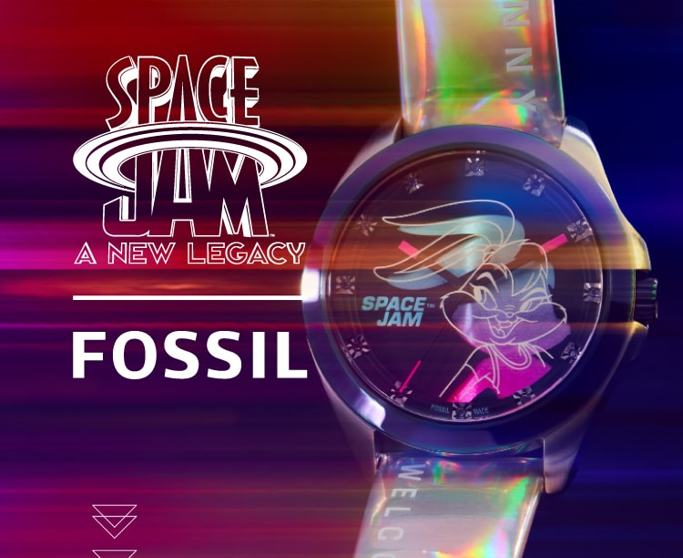 Space Jam by Fossil logo with a purple background and a watch with Bugs Bunny on the dial.