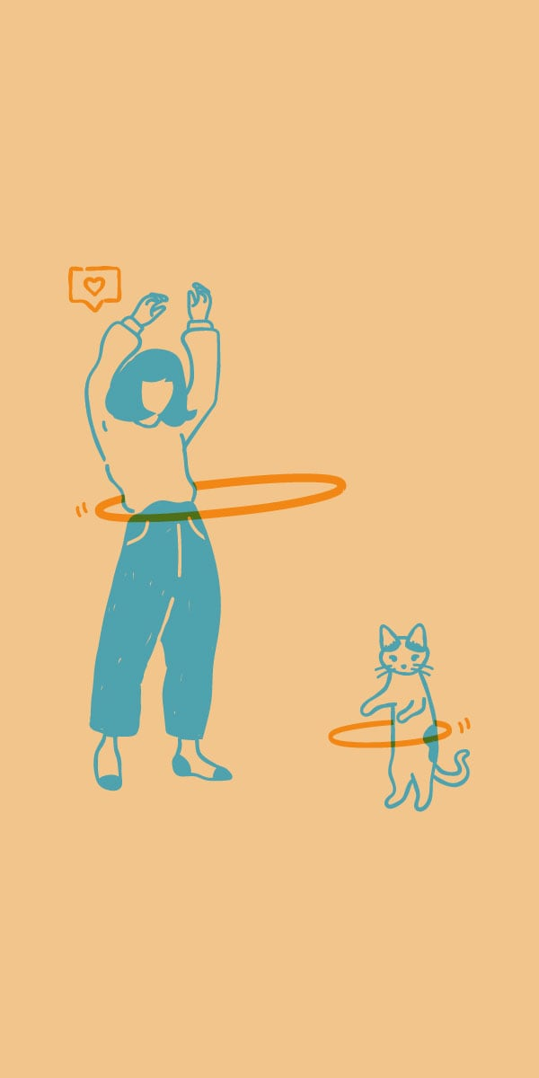 Illustration of a woman and a cat hula hooping.