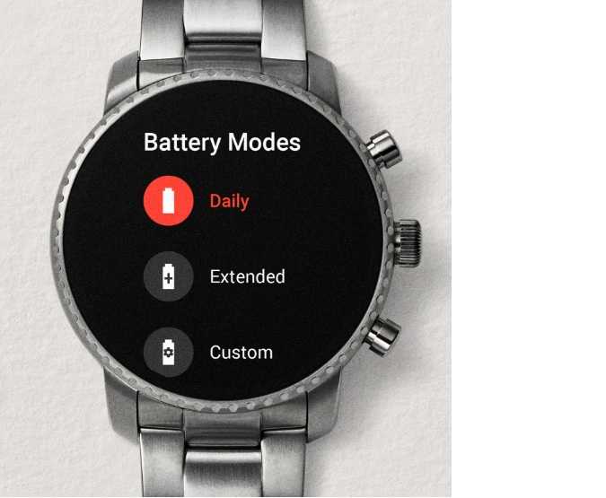 Gen 4 smartwatch displays battery screen.