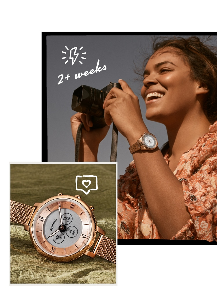 A woman holding a camera wearing a Hybrid HR Smartwatch