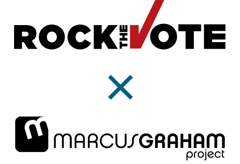 Rock the Vote and Marcus Graham Project logos