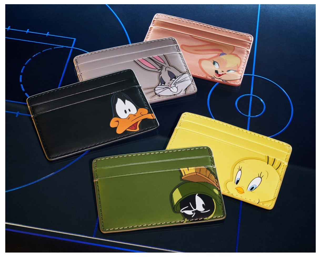 Five small wallets with Tune Squad characters.