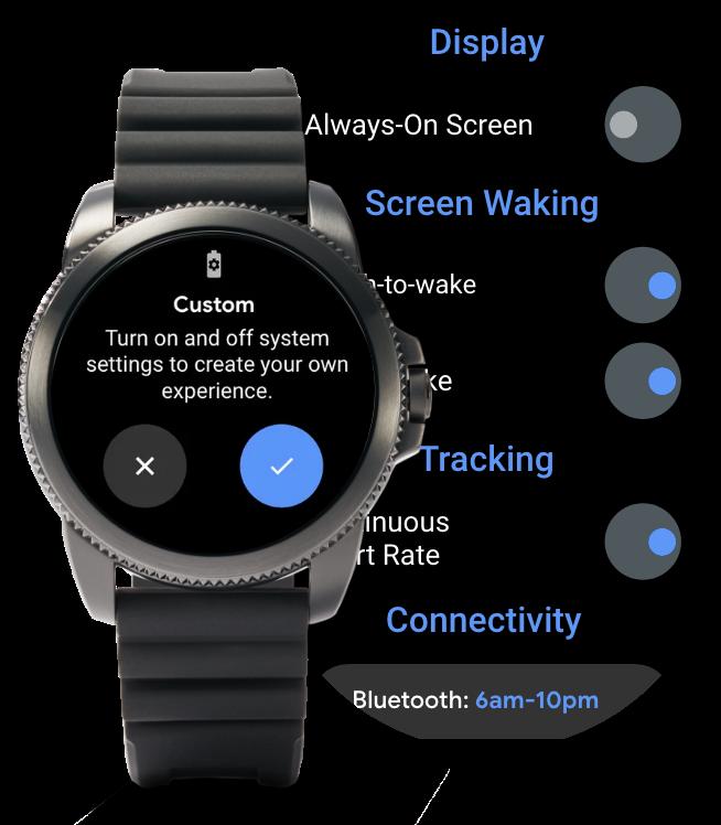 La montre connectée 5èmegénérationLTE affichant différents modes de batterie.
