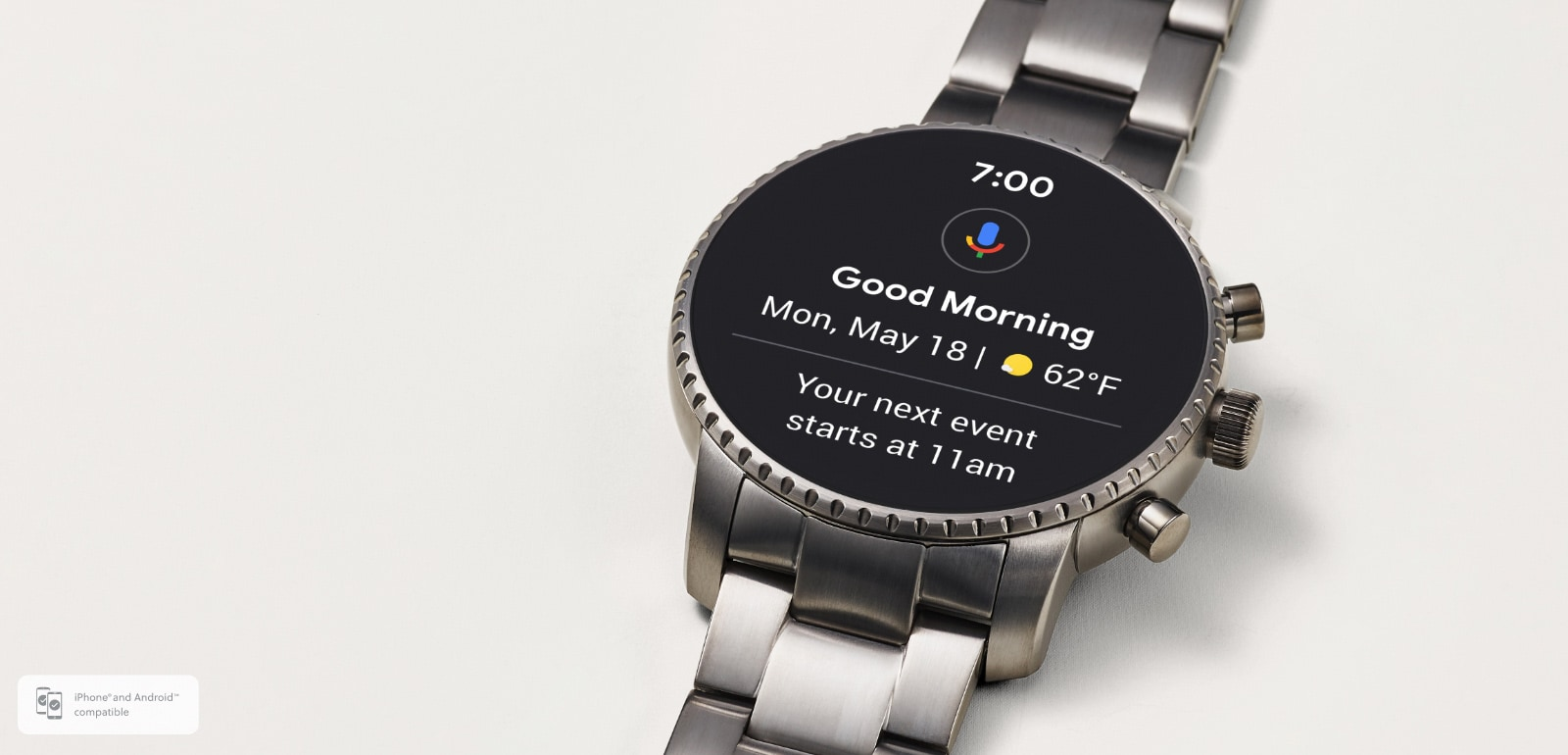 Gen 4 smartwatch in steel with animated dials.