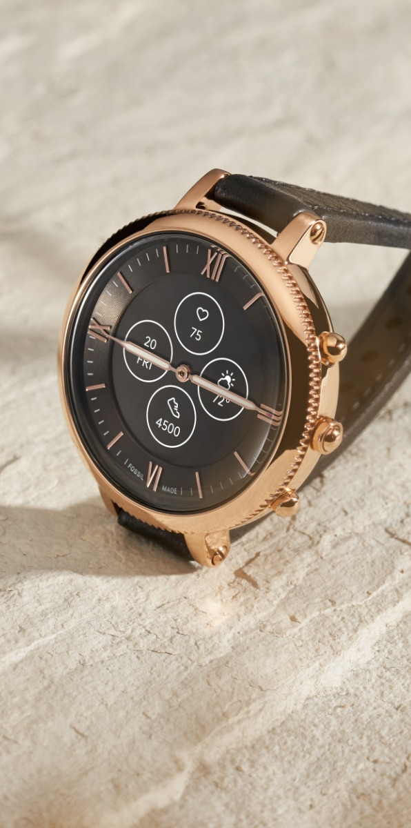 Women's leather Hybrid HR smartwatch.