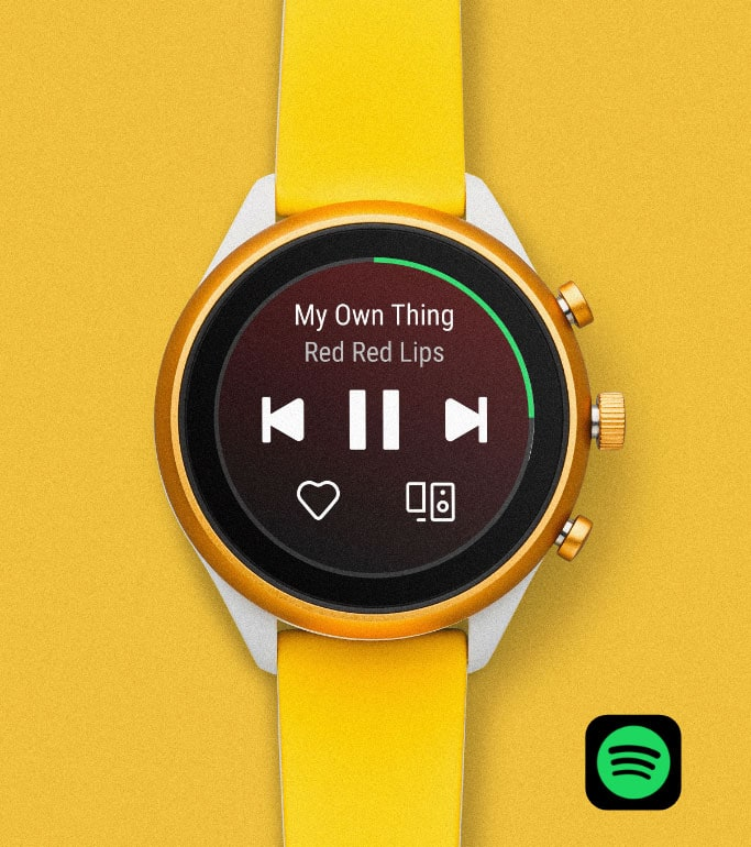 Sport smartwatch in yellow silicone.