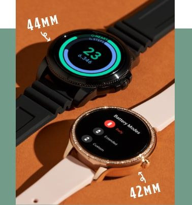 A 44mm Gen 5E smartwatch and a 42mm Gen 5E smartwatch.
