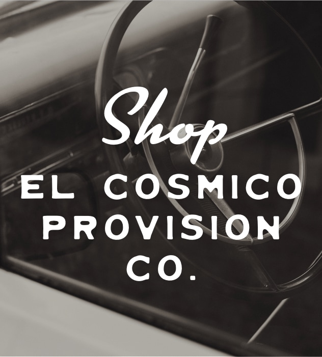 Shop El Cosmico Provision Co. over top a black-and-white photo of water tower.