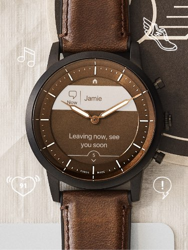 Hybrid Smartwatch HR with feature iconography.