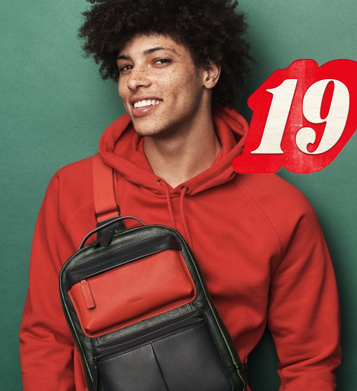 Man in two-tone sling pack.