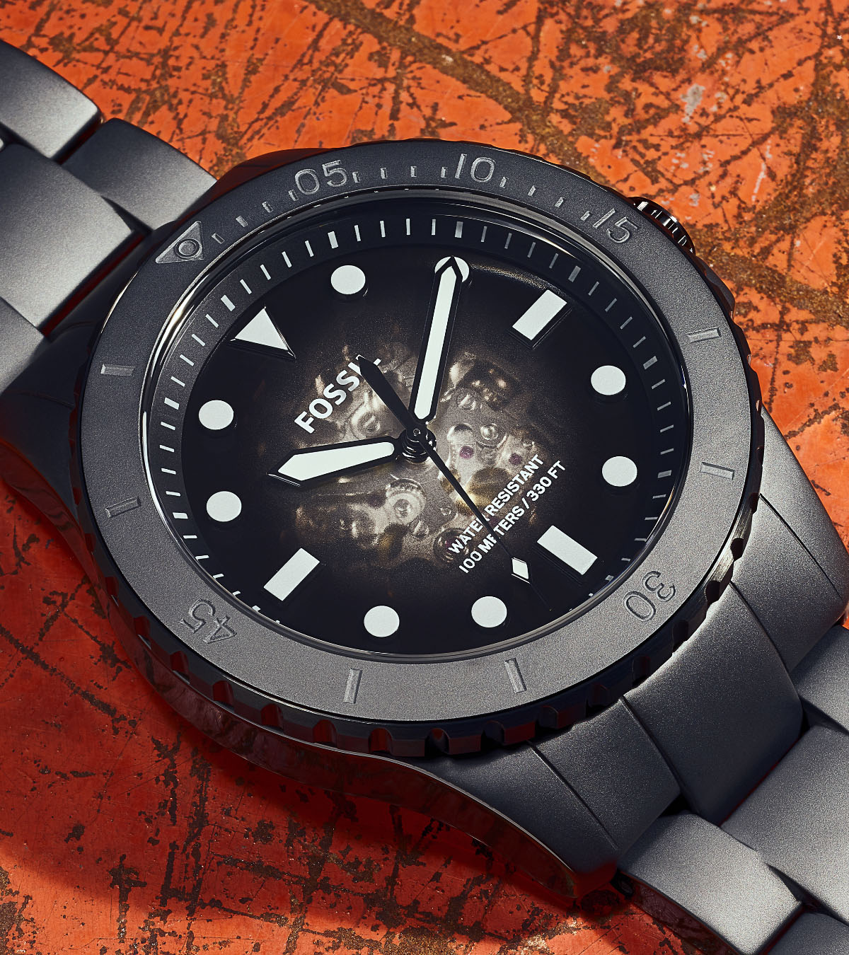 A black stainless steel FB-01 watch.