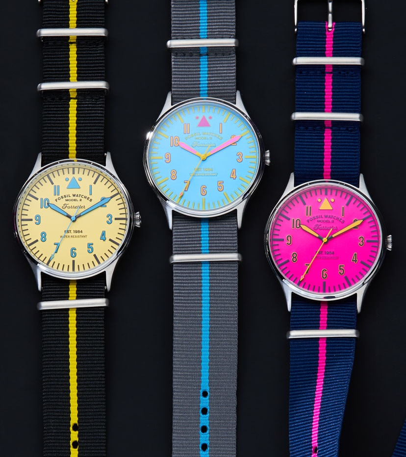 Collection of neon Forrester watches.