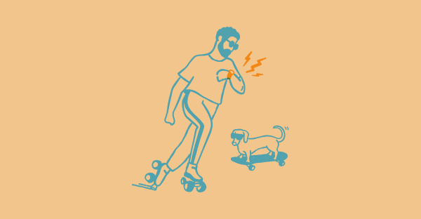 Illustration of a man on roller skates with a dog nearby.