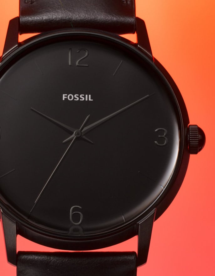 The Mood watch with minimal, colorful dial and Arabic numerals.
