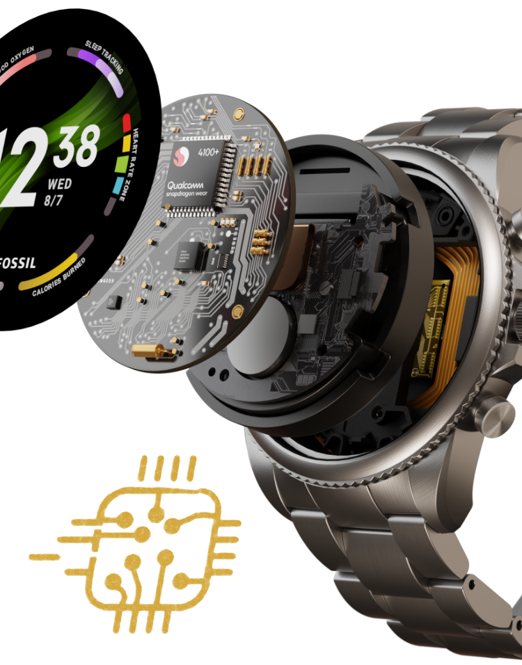 A Gen 6 smartwatch with its dial exploding to reveal its inner workings.