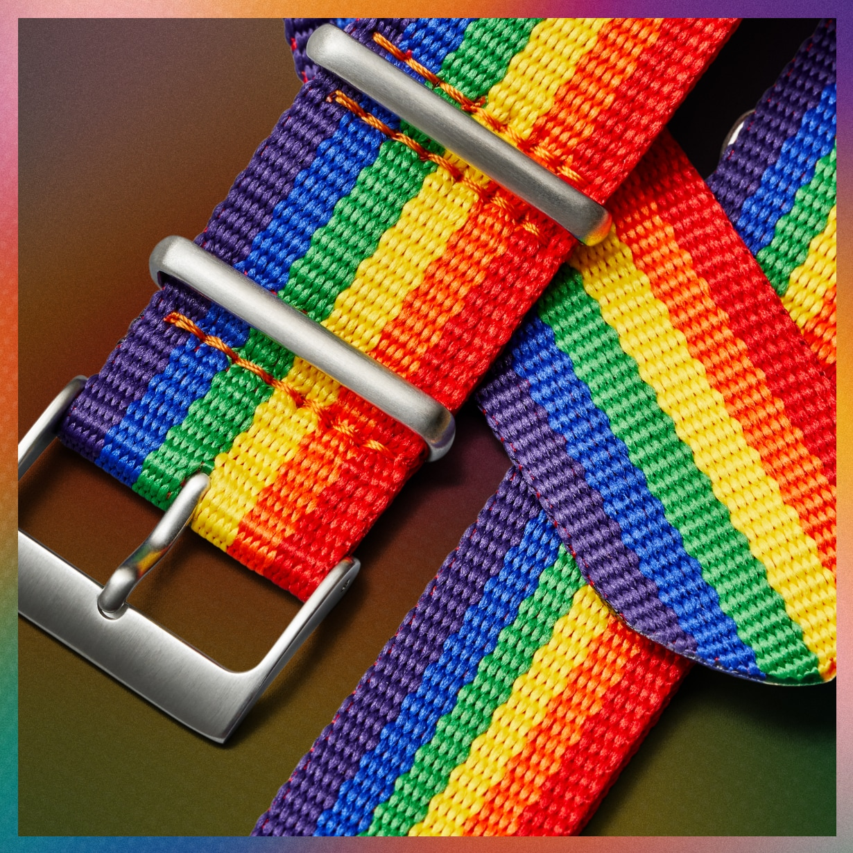 Interchangeable rainbow watch straps.