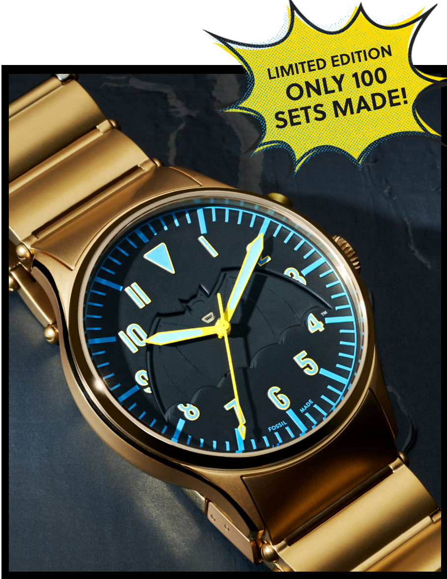 Bam! Pow! Zap! Exclusive Batman by Fossil box set featuring a special edition gold-plated watch. Only 100 sets made.