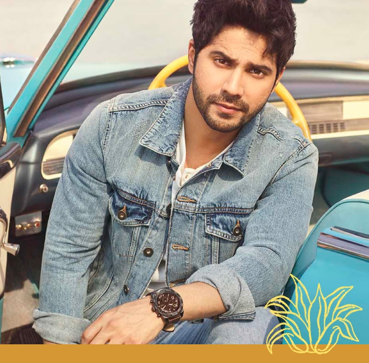 Varun Dhawan wearing a Bronson Fossil watch.