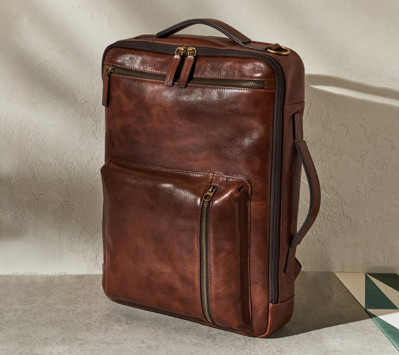 Buckner convertible backpack in leather.