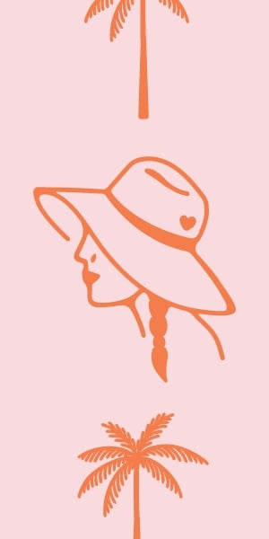 Woman in a hat illustration.