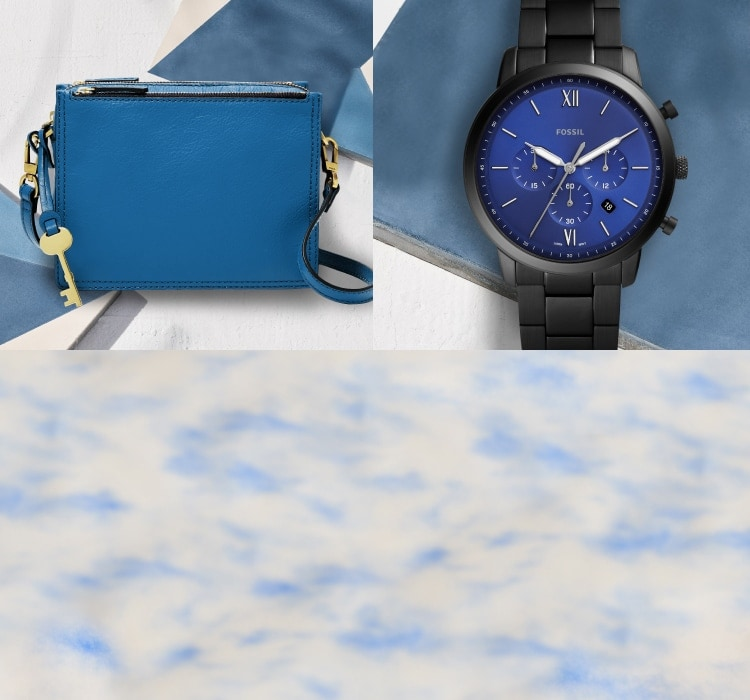 a blue handbag and a black watch with blue face