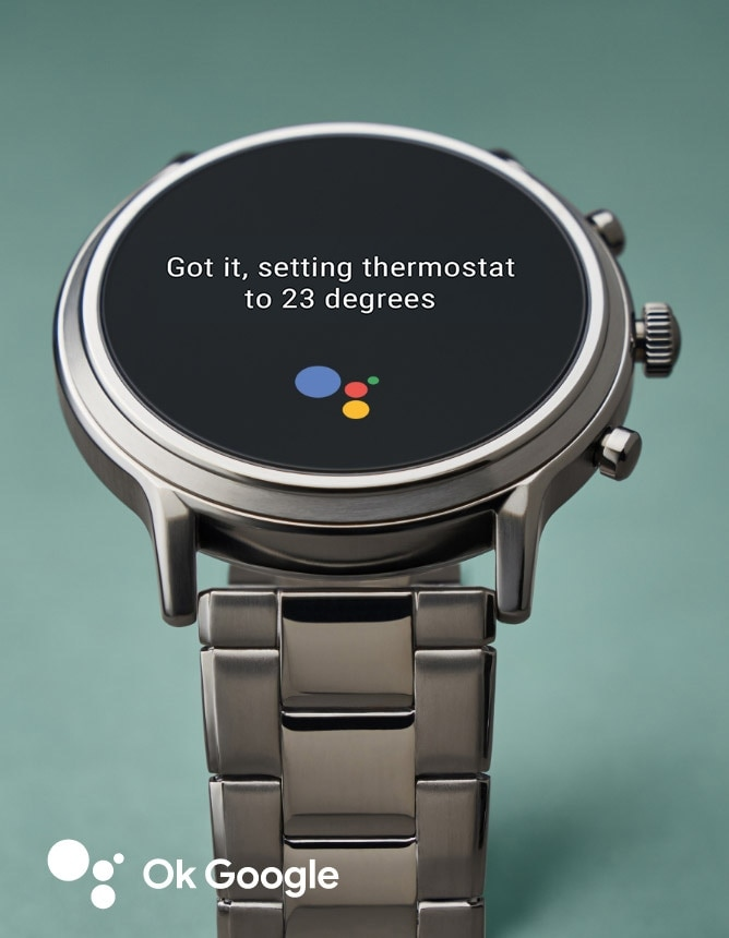 A Gen 5 smartwatch dial that says Got it, setting thermostat to 20 degrees.