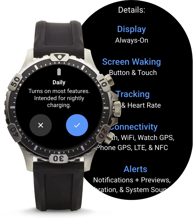 A Gen 5 LTE Smartwatch displaying different battery modes.
