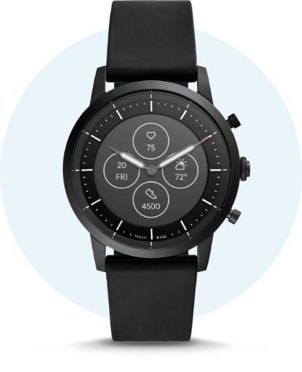 Black leather Hybrid smartwatch.