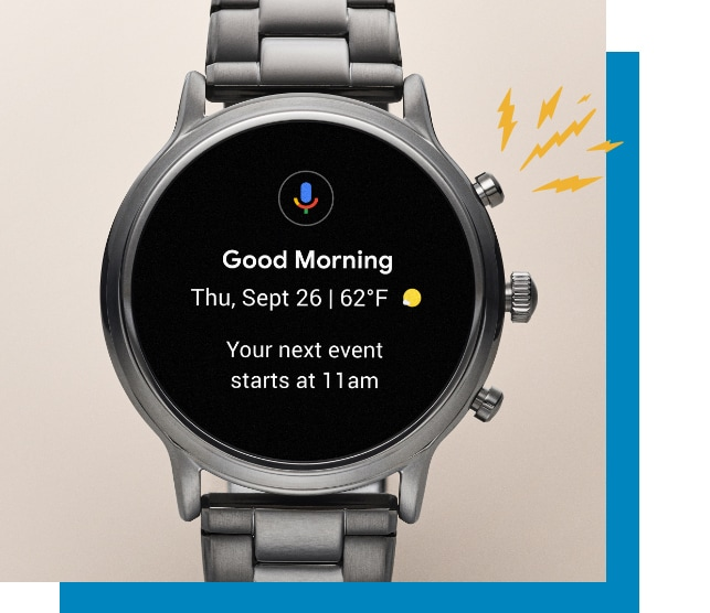 A Gen 5 smartwatch displaying an event reminder.