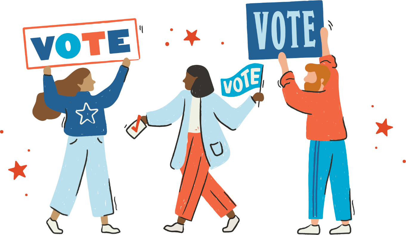 """Illustrations of people with """"vote"""" signs."""
