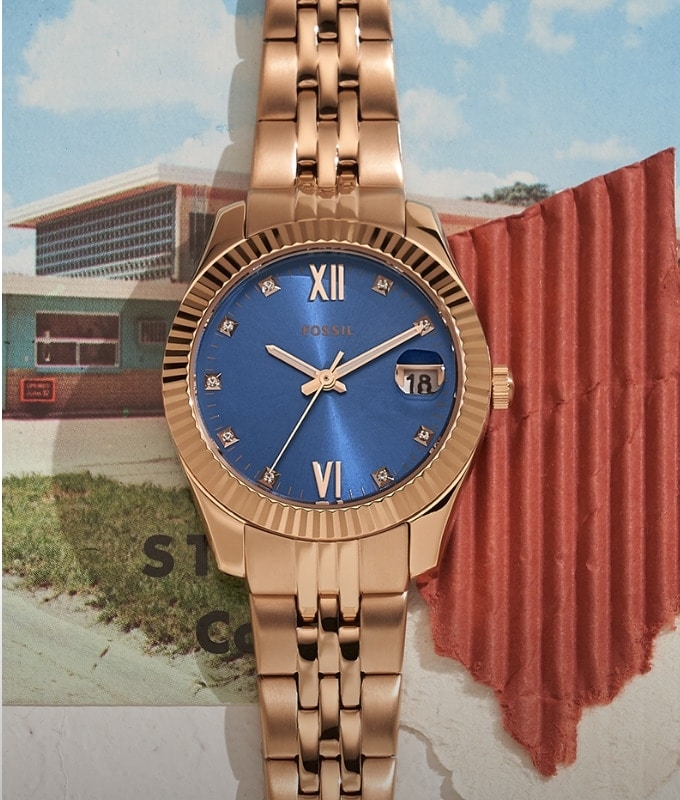 Sport watch in steel on postcard.
